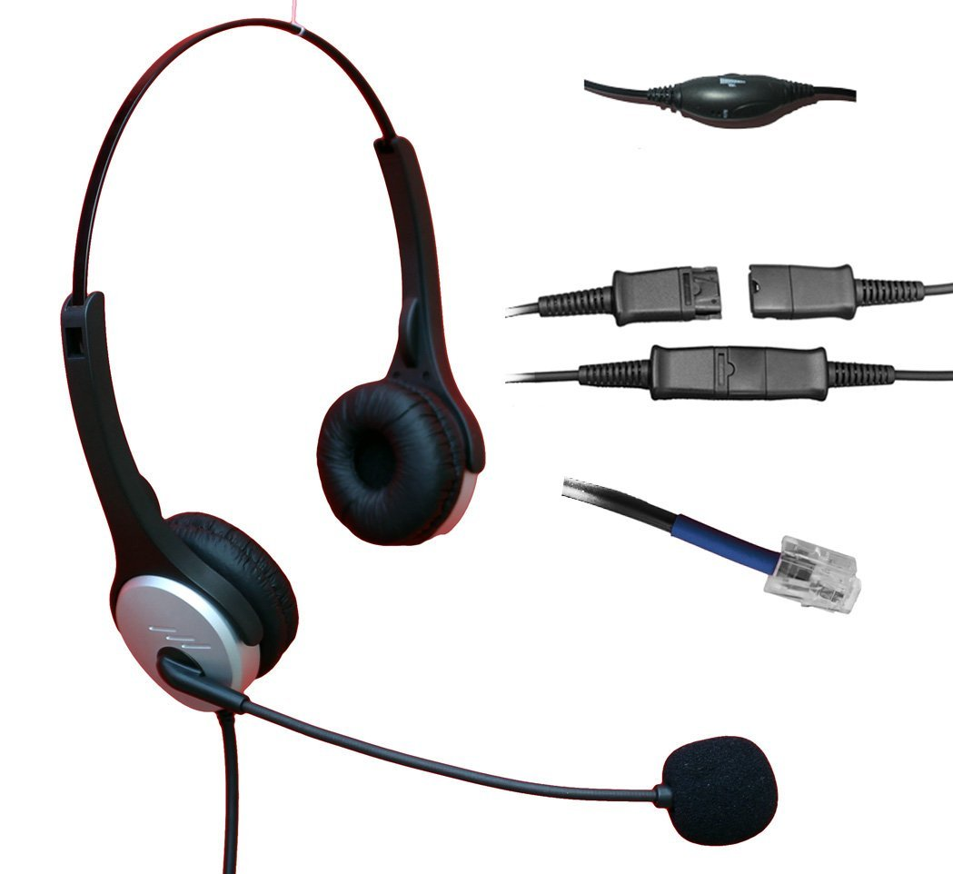 Voistek Corded Binaural Call Center Telephone RJ Headset Noise Cancelling Headphone with Microphone and Quick Disconnect for Cisco 7970 9971 Office IP phones and Planronics M10 M12 M22 MX10 Amplifiers (H20PCIS)