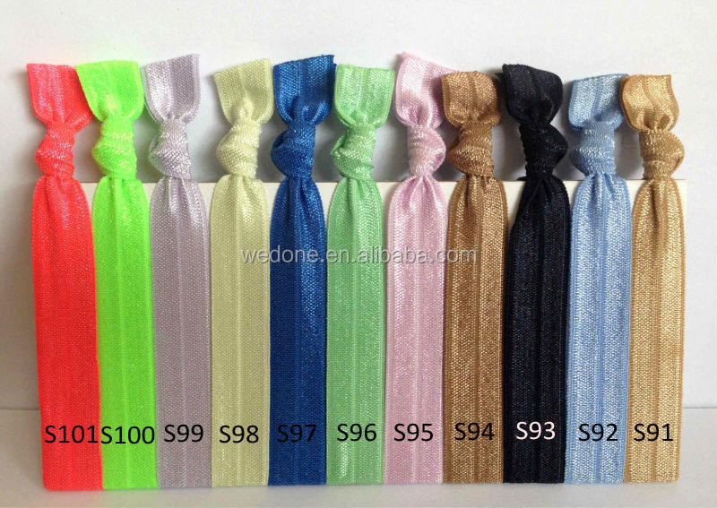 "5/8"" Fold Over Elastic Band Knotted Hair Tie Black Elastic Hair Band FOE Hairband Hair Accessories 200pcs/lot"