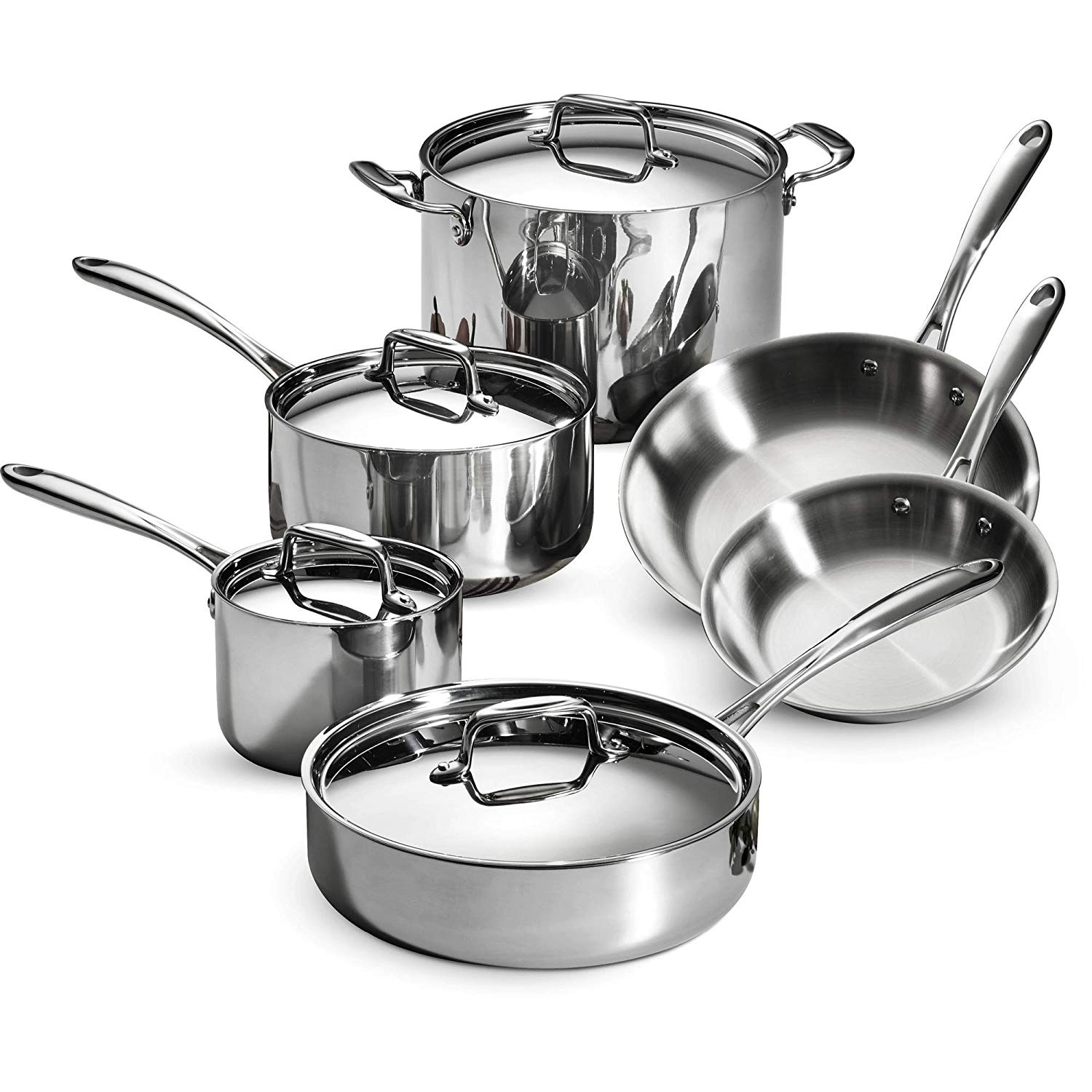 Tramontina 10-Piece Tri-Ply Clad Cookware Set, Stainless Steel