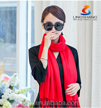 Cashmere scarves solid China wholesale gift in red will be red cashmere scarves