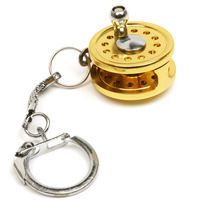 Peche Metal Fishing Accessories Gift Gold Fly Fishing Reel Drum Reel Key Chain