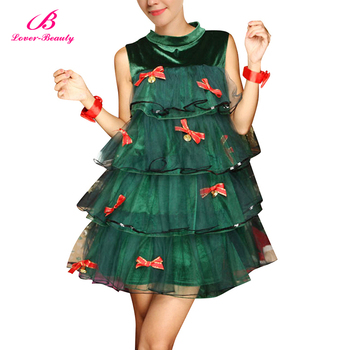 Factory Price Green Christmas Tree Dress Sexy Christmas Adult Costume