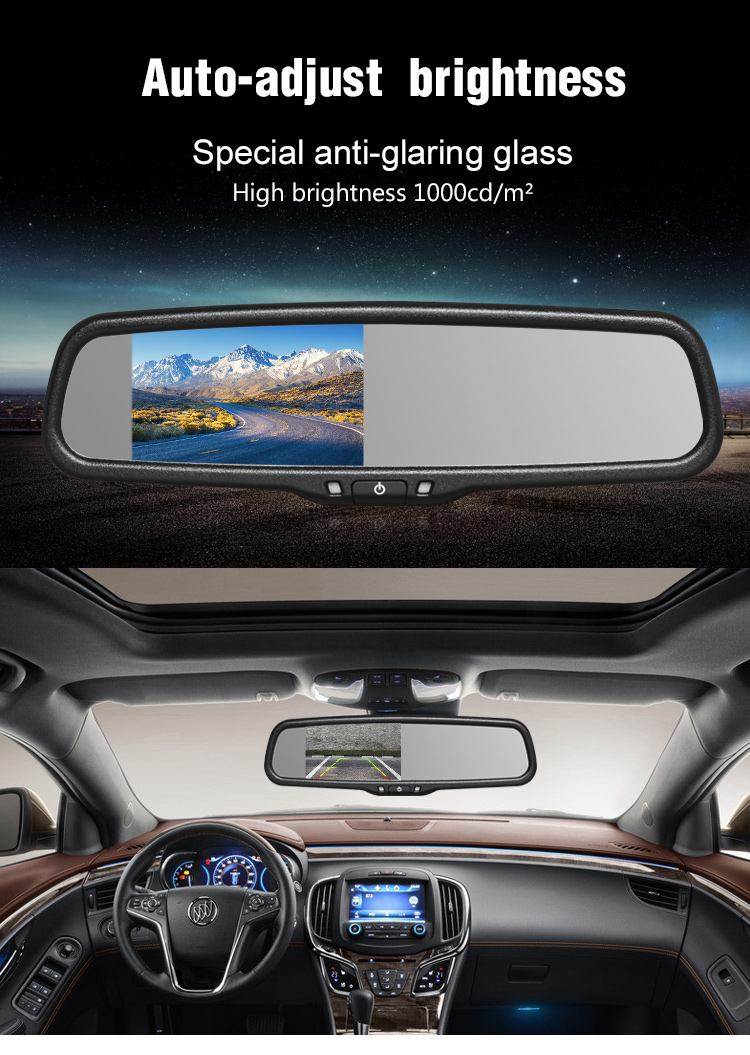 4.3 inch 1000cd high brightness lcd monitor for car rear view mirror