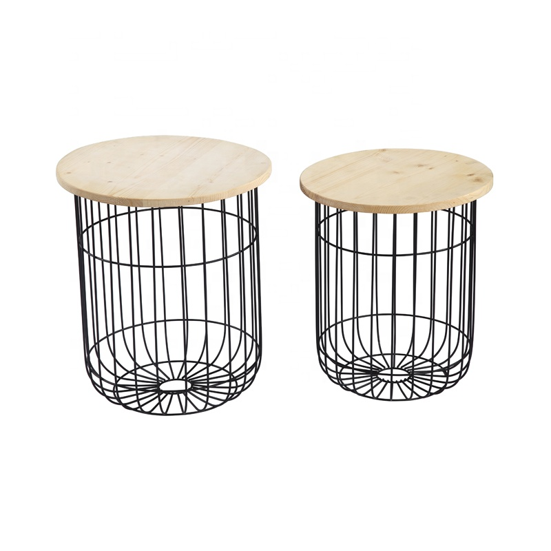 Wooden Top Metal Iron Wire Frame Storage Side Table