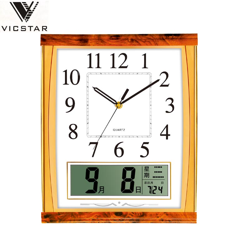 Large display lcd digital home decor fashional wall clock calendar,day date dual time wall clock for office