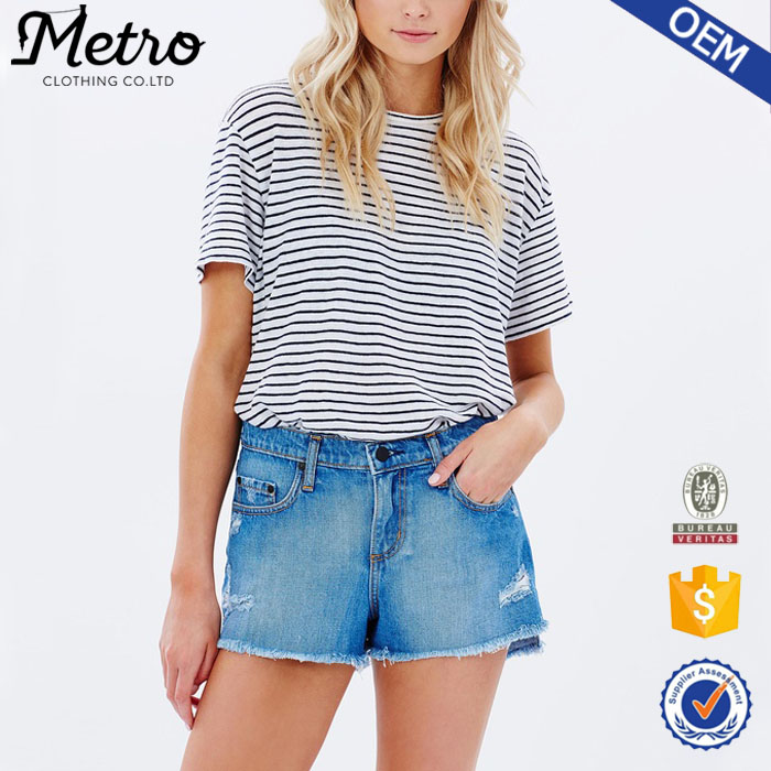 Australia Hot Sell 100% Cotton Slim Fit Women Split Denim Shorts