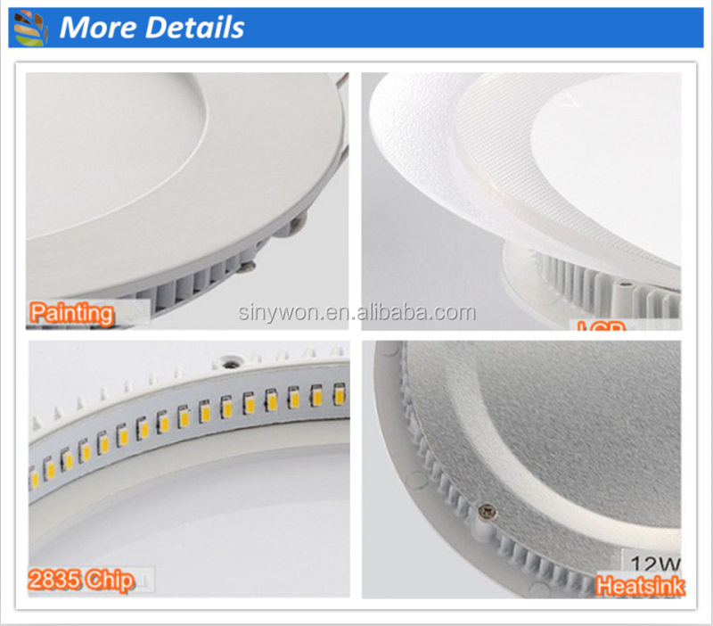 High brightness AC85-265V 3W 6W 9W 12W slim round led panel light price