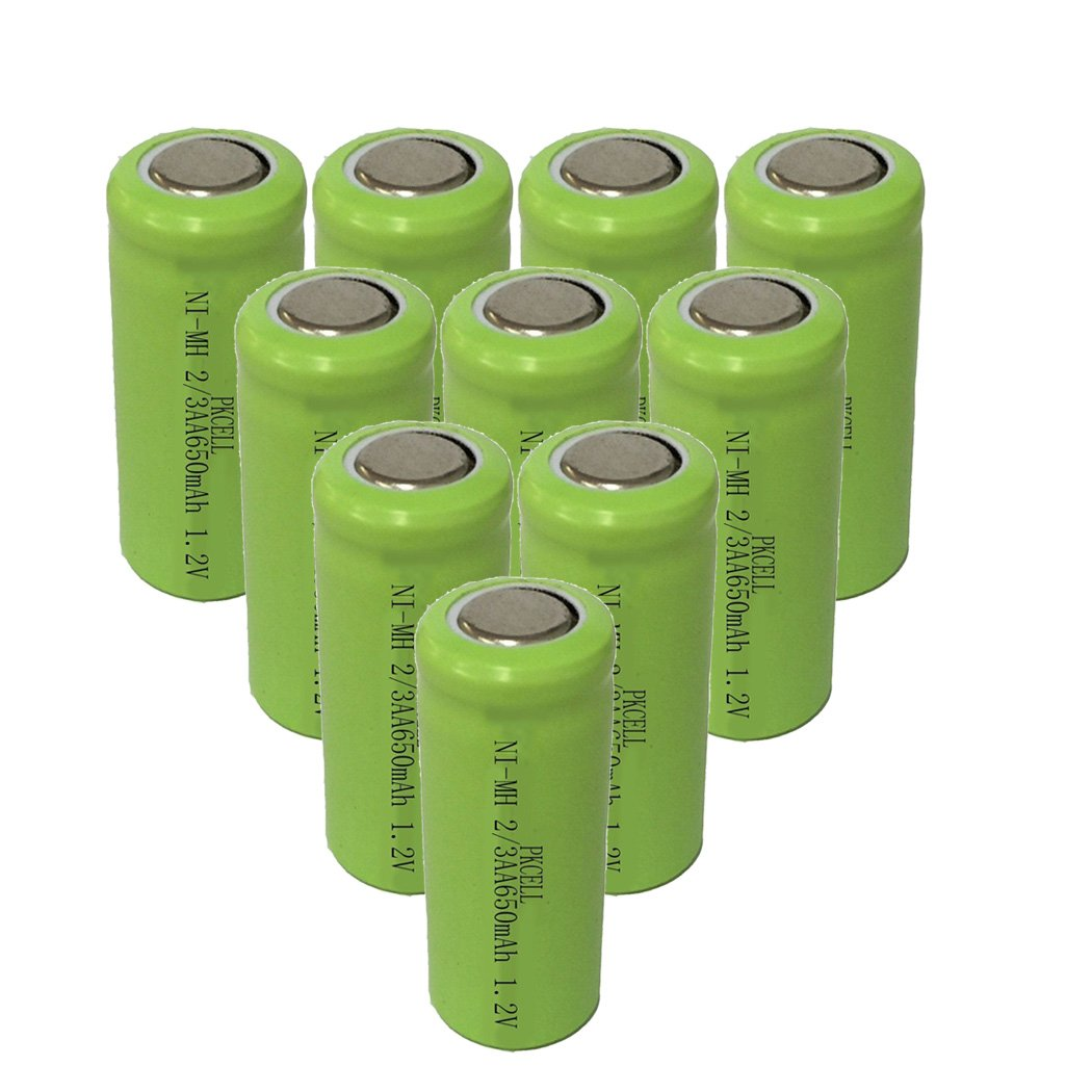 10PC 2/3AA Size Nimh Rechargeable Battery 1.2v 650mah