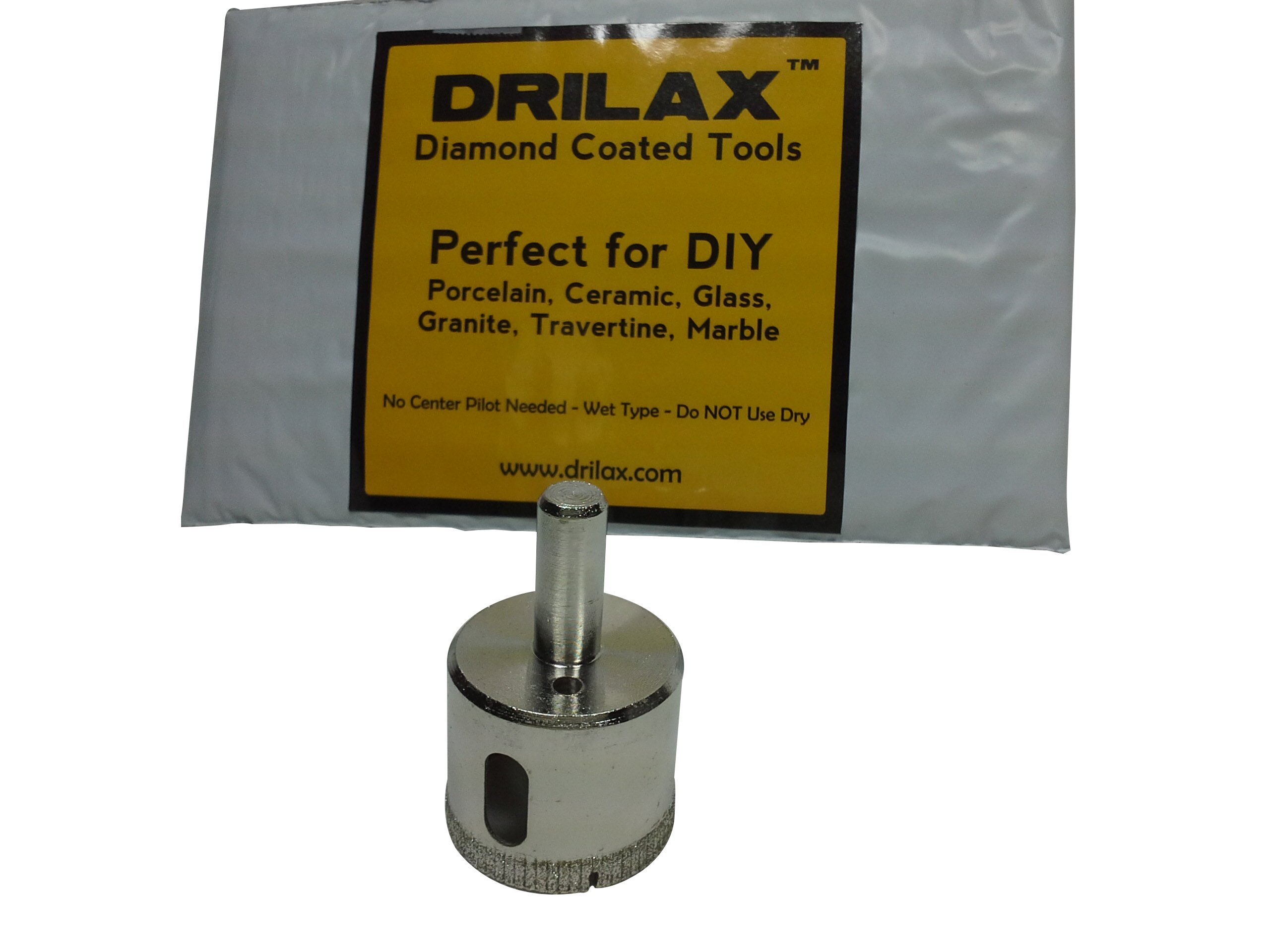 """Drilax 1 1/2 Inch Diamond Hole Saw Drill Bit Tiles, Glass, Fish Tanks, Marble, Granite Countertop, Ceramic, Porcelain, Coated Core Bits Holesaw DIY Kitchen, Bathroom, Shower, Faucet Installation Size 1-1/2"""" Inches"""