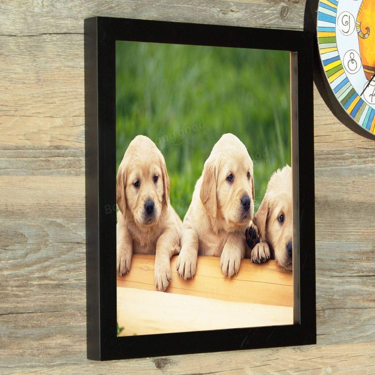 Hanging Picture Frame - Hanging Photo Frame - 10 Inch Hanging Picture Frames Wood Photo Frame Photo Wall Home Wall Decor Pendant Type Frame - Black ( Hanging Wood Frame )