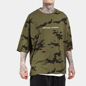 fc1159a3 T shirt manufacturer China O neck oversize batwing sleeve dropped shoulder blank  custom printing camo t