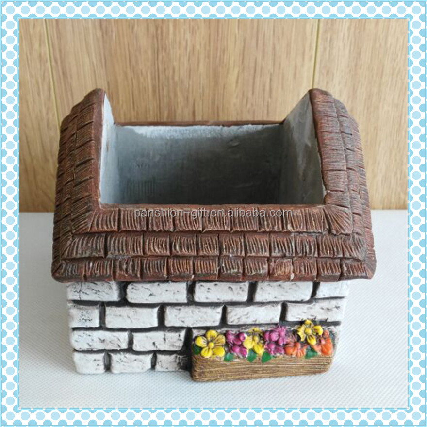 cheap house shape handmade cement mini flower pot, garden pot, house shape planter pot