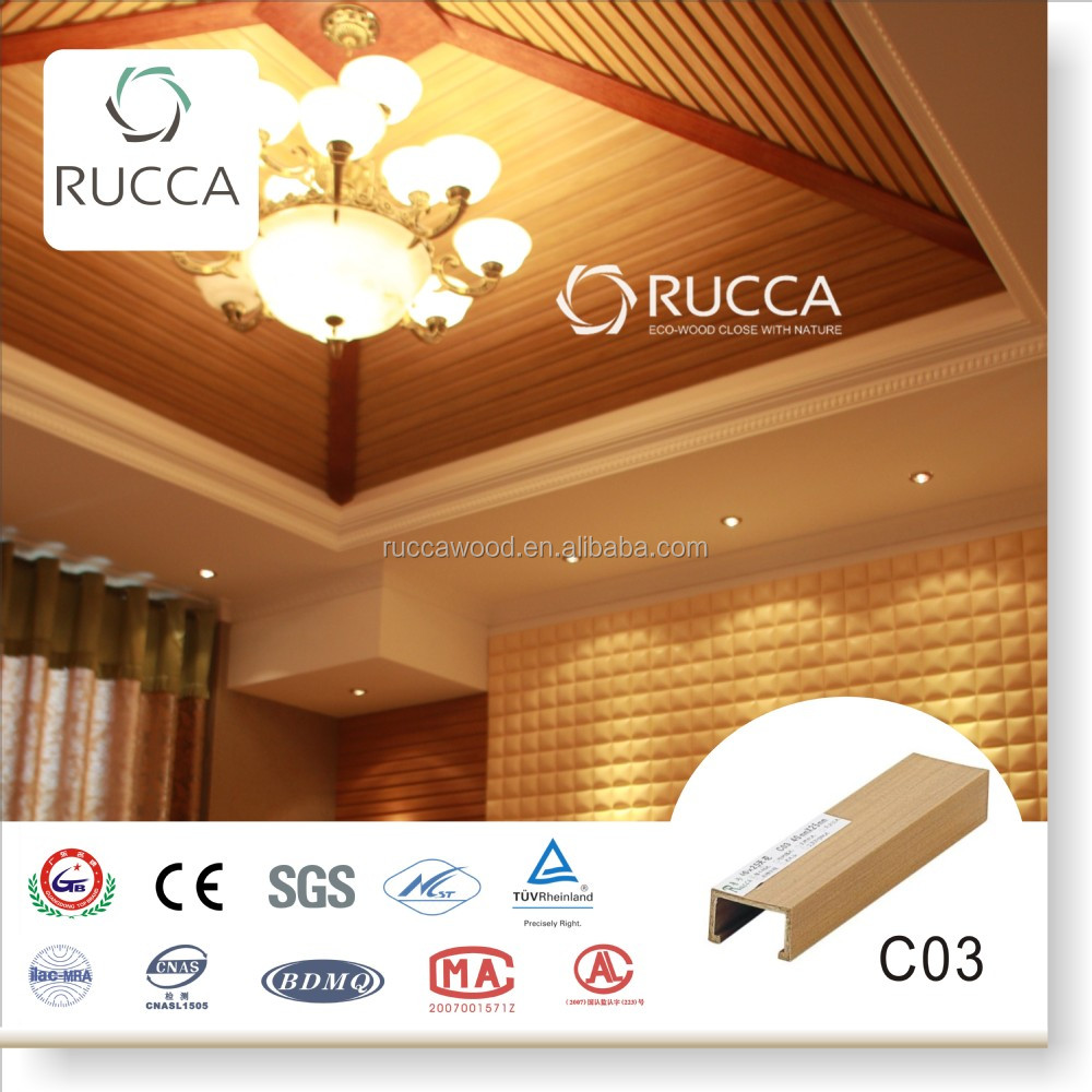 Rucca Bedroom Decorating,WPC /Wood PVC Ceiling Board for Interior Decoration 40*25mm