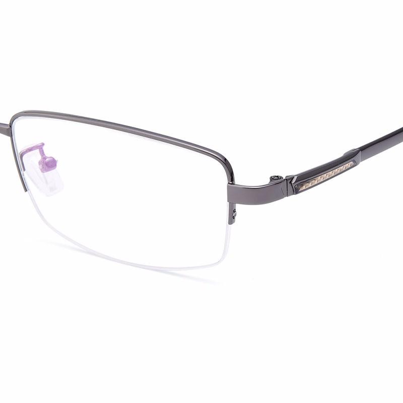 Alloy Metal Semi-rimless Eyeglasses Frame For Men Prescription ...