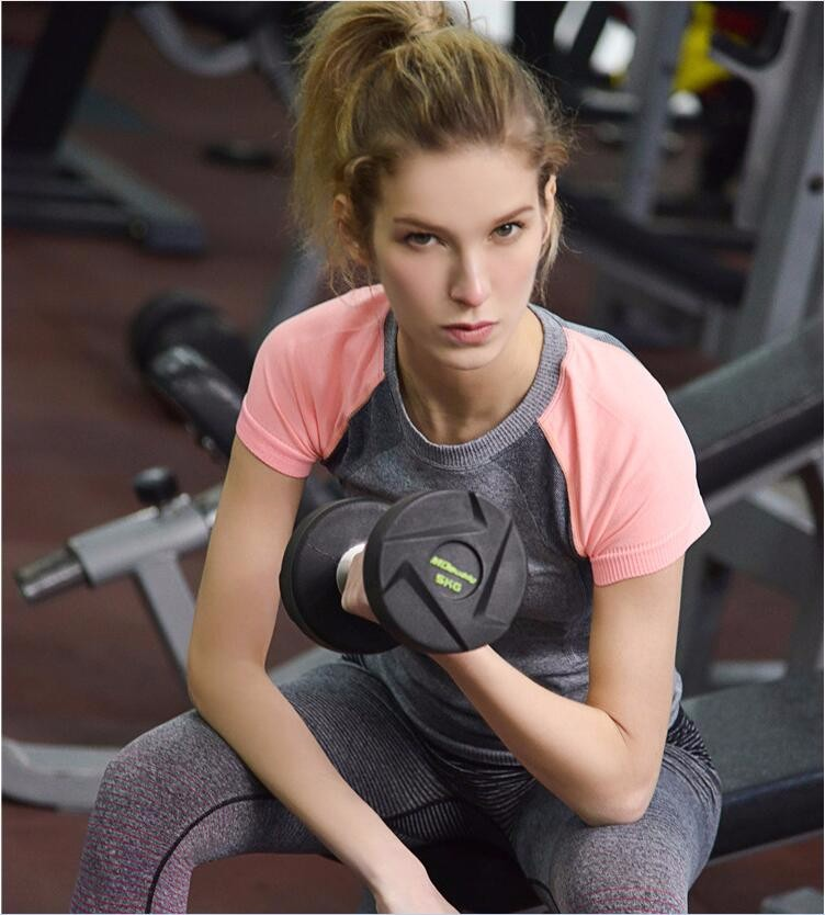 Ultra Sweat New Selling Contrast Color Women Sexy Sport Wear Pink Short Sleeve Shirts 3