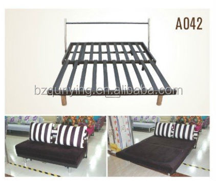 Practical Metal Plank Fold Out Sofa Bed Frame With Stainless Steel Headrest