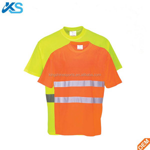Custom High quality soft cotton polyester printed single jersey mens hi-vis t shirts