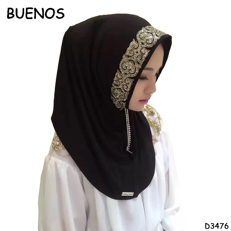 Woman Polyester Fibre Scarves Multicolor Spot Drill Hijab Stoles Summer Muslim Scarf With Stones