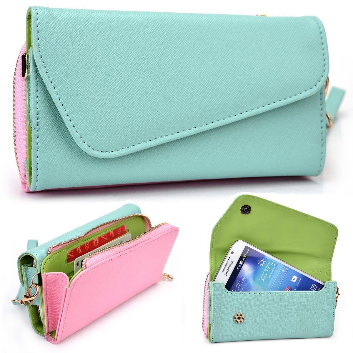 Mint and Pink Crossbody Case for LG G4 Pro, Flex, G Pro 2 D830 D838 F350K F350L F350S Smartphone Phablet