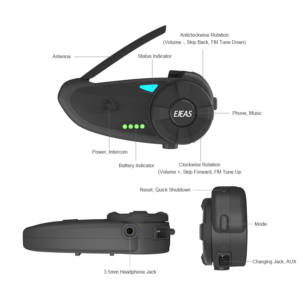 New Arrival 2 Seconds Fast Pairing Bluetooth Intercom For Helmet 1200m Talking Motorcycle Bluetooth Intercom