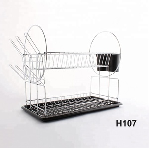 Chrome-plated Steel 2-Tier Dish Rack with Drainboard / Cutlery Cup