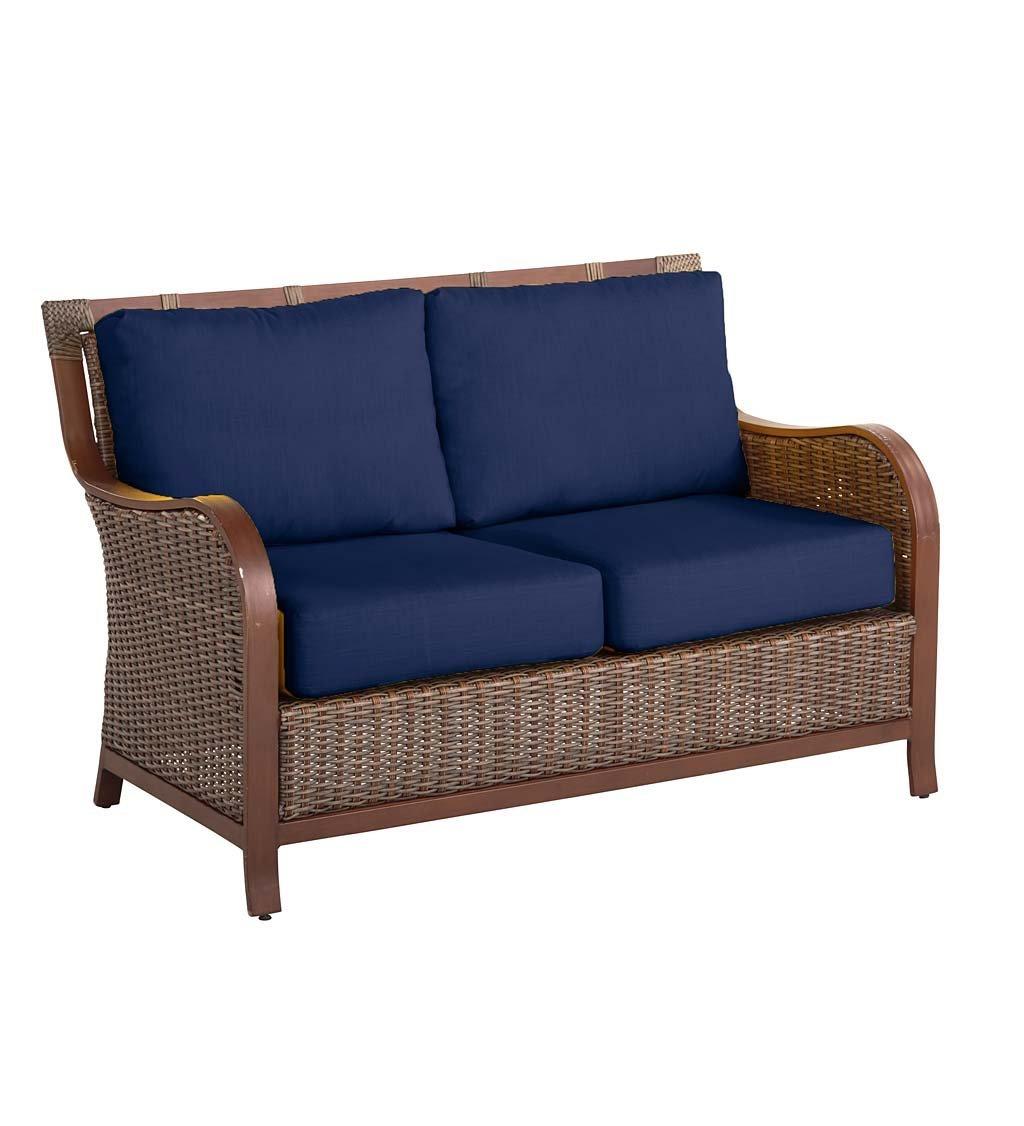 Plow & Hearth Urbanna Premium Outdoor Resin Wicker Patio Love Seat with Luxury Cushions, 54 W x 33 D x 35 H - Midnight Navy