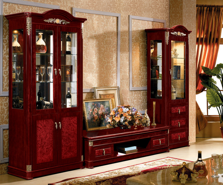 Living Room Furnitures Modern Design Glass Door Tv Set Furniture Cabinet