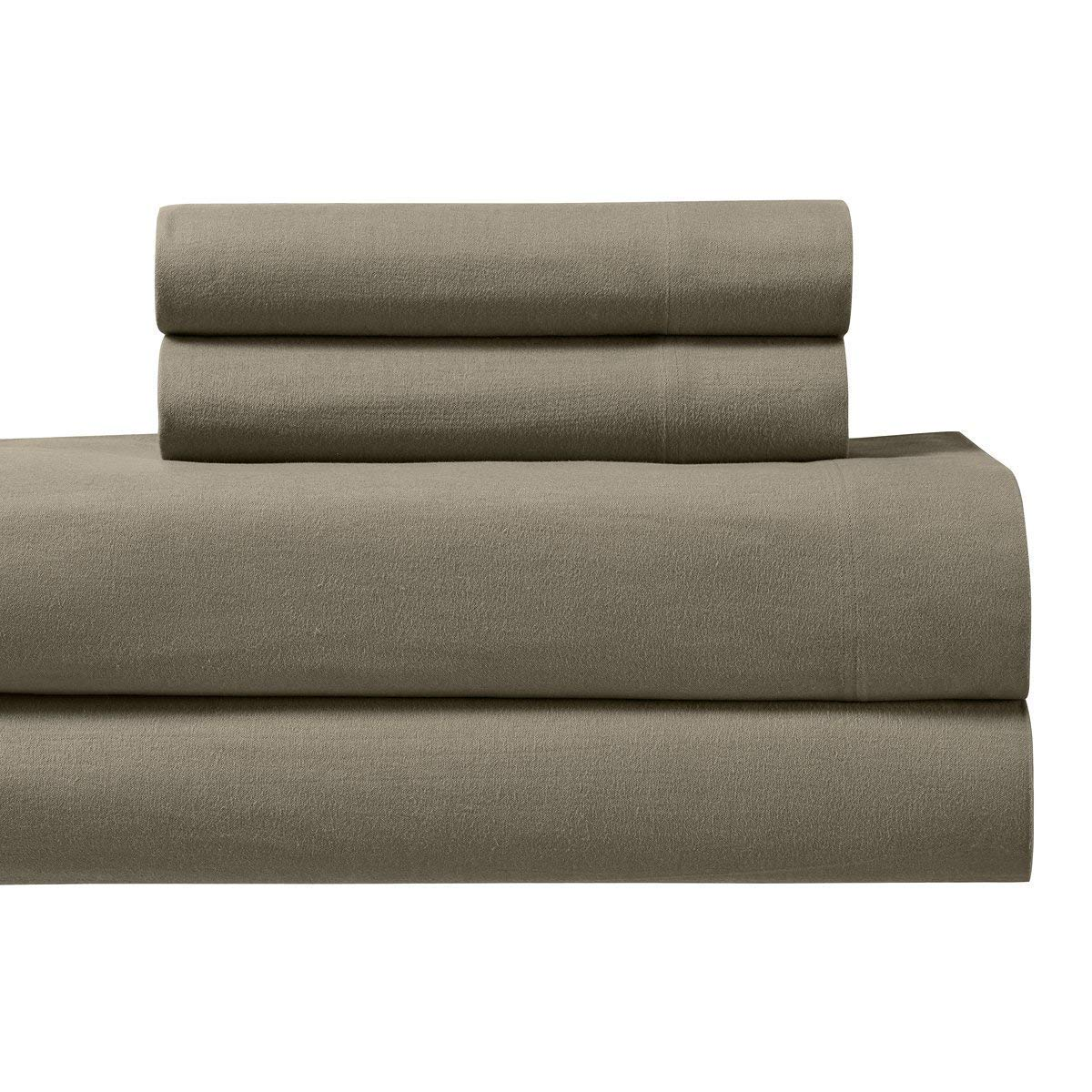 ba38fe809fb9 Get Quotations · Heavyweight Flannel 100% Cotton Sheet Set- King, Taupe,  4PC bed sheets 170