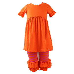 Hot sale fall infant toddlers girl clothing kids cotton frocks ruffle pants design bulk wholesale kids clothing