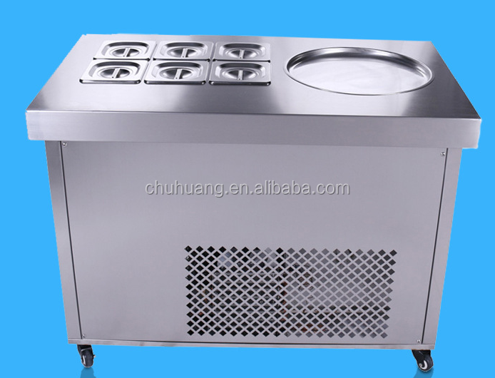 Flat pan fried ice cream machine with 6 pans, fried ice cream roll machine for sale