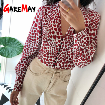 Spring Long Sleeve Blouse Crop Top Heart Print Vintage Button Down Shirt For Women V Neck Korean 2019 Woman Tops and Blouses