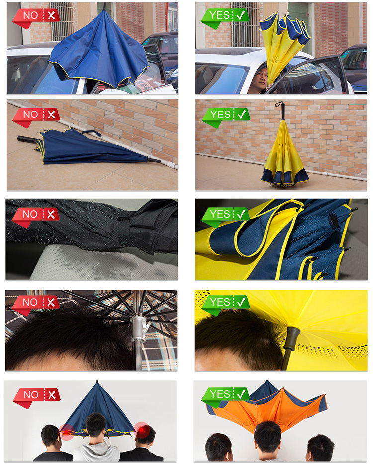 New wholesale umbrella with C handle umbrella inverted