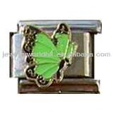 Fashion wholesale 9mm stainless steel light green butterfly italian charms jewelry