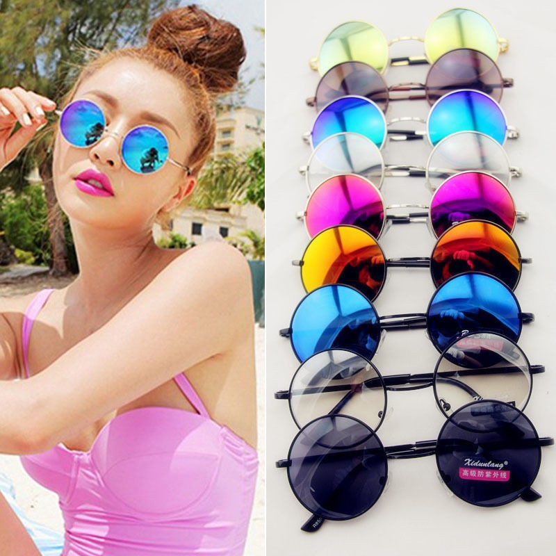 Retro Hippie Lens Round Circle Lens Reflective Sunglasses