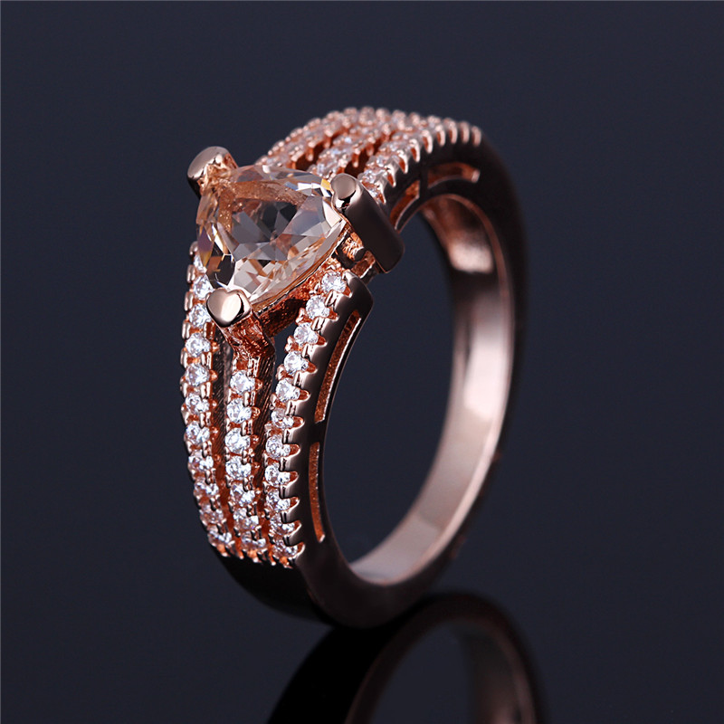 Rose gold plated pink sapphire stone rings , small pave cz diamond rings for girls