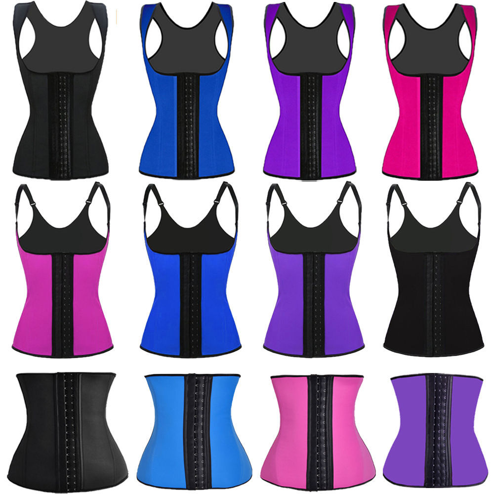 walson Women Waist Trainer Latex Belt Zipper Body Shaper Corset Girdle Slim Belt latex with zipper