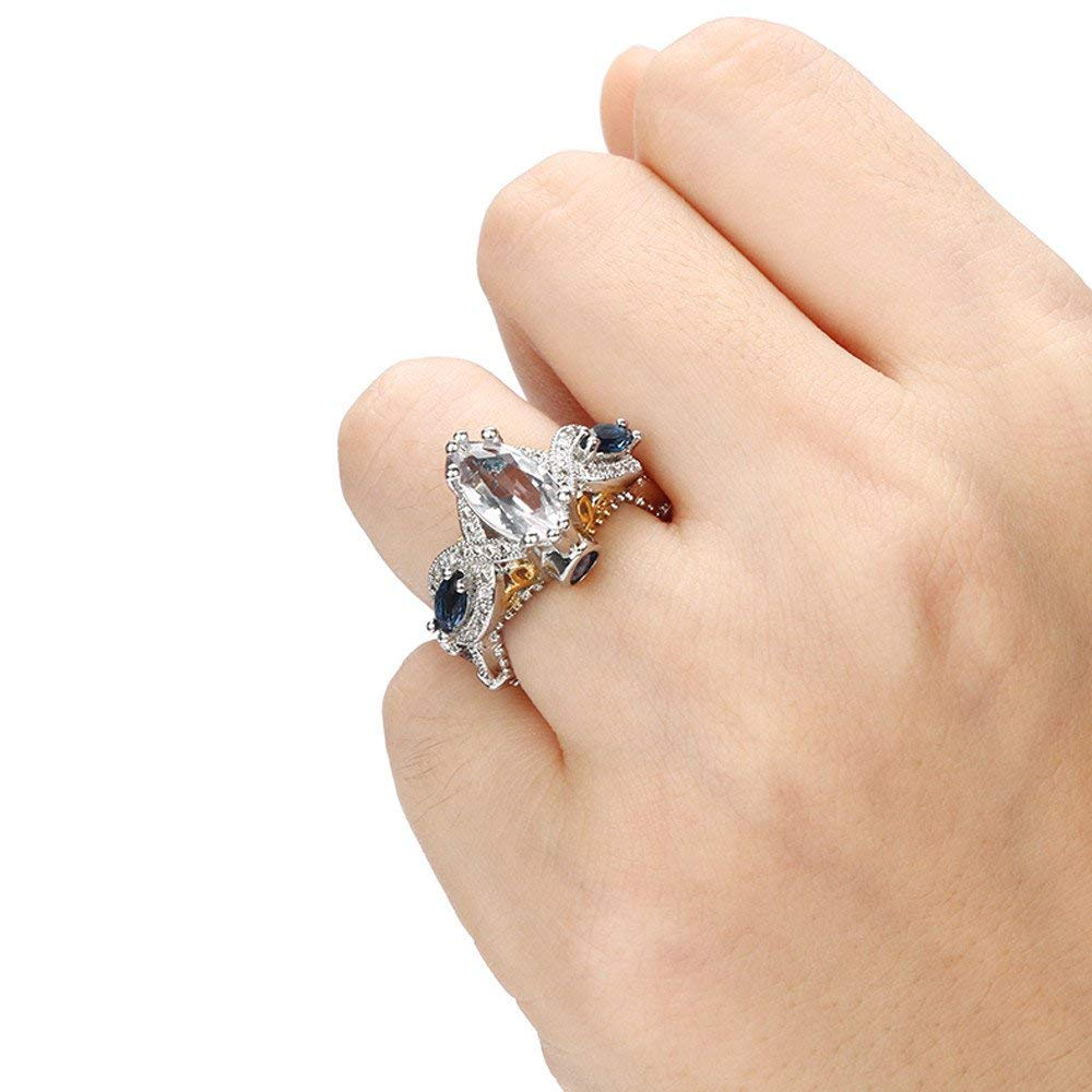 Fashion Ring, Hoshell Chic Fashion Women Crystal Silver Cubic Zirconia Band Ring Jewelry Gift (8,  C)