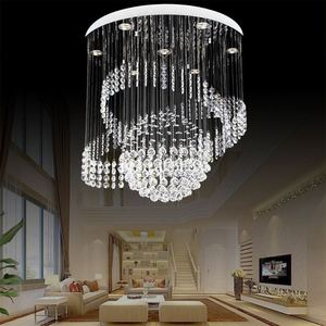 White Color Crystal Chandelier Lamp Lighting Fixture Large Lusters For Hotel Project Villa Lights Shade