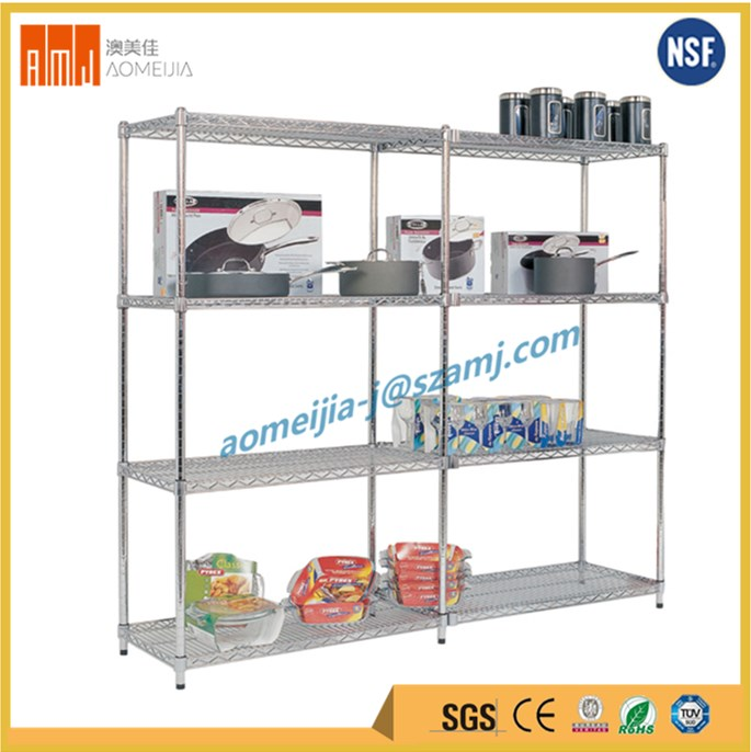 Household storage heavy duty durable nsf kitchen shelving unit in chrome