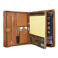 Shenzhen File Folder Custom Travel Holder Zippered a4 PU leather Portfolio Folder with Notepad
