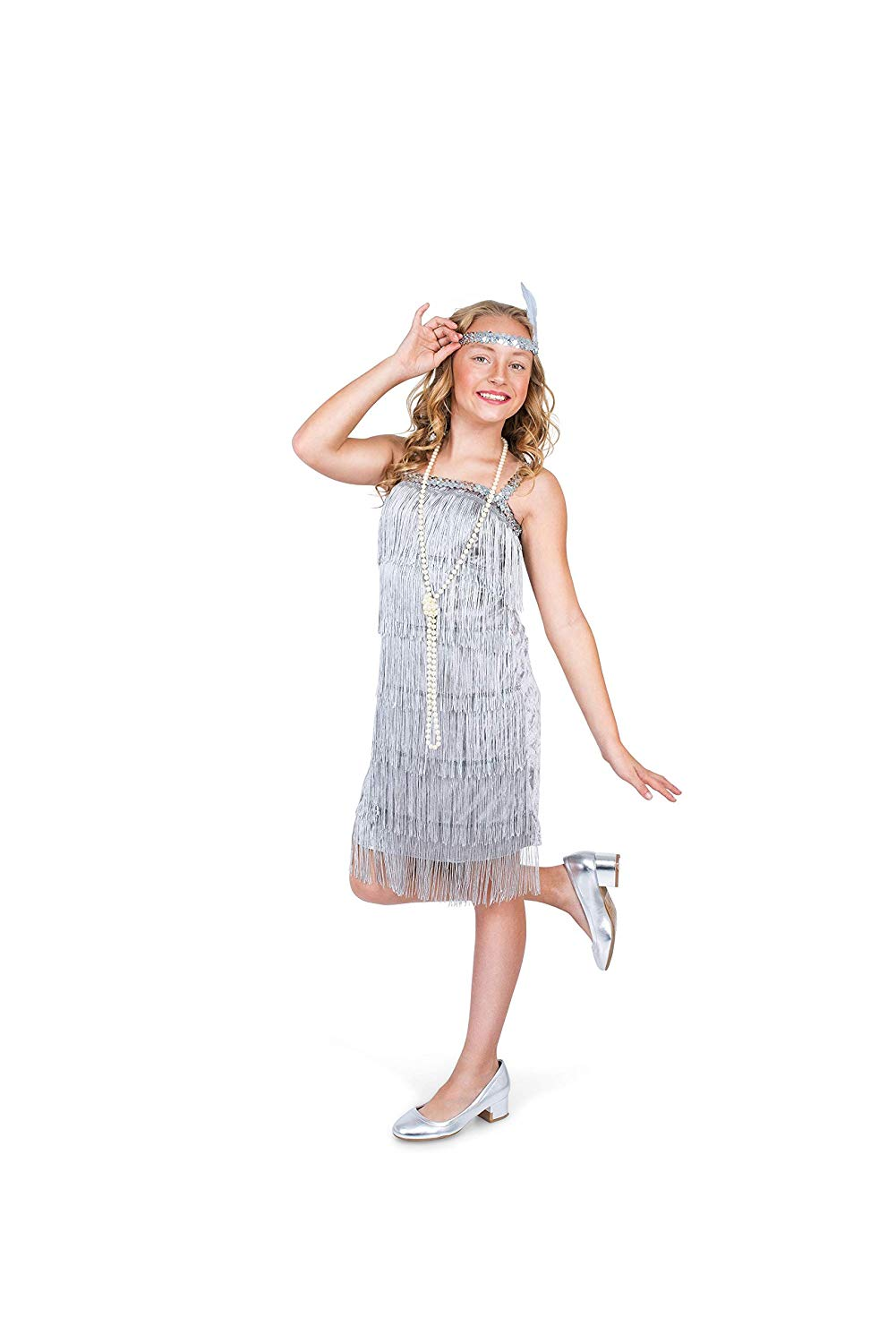 a10ec3d7 Get Quotations · Karnival Costumes Flapper Costume Girls, 20s Dress with  Headband, Kids, Silver