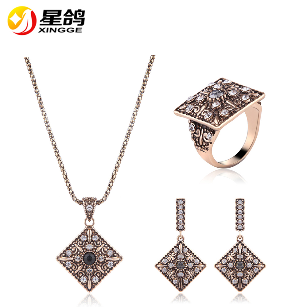 New Fashion Gold/Silver Plated Jewellery Square Crystal Jewelry Sets Women Necklace Earrings Ring Wedding Jewelry Sets Wholesale