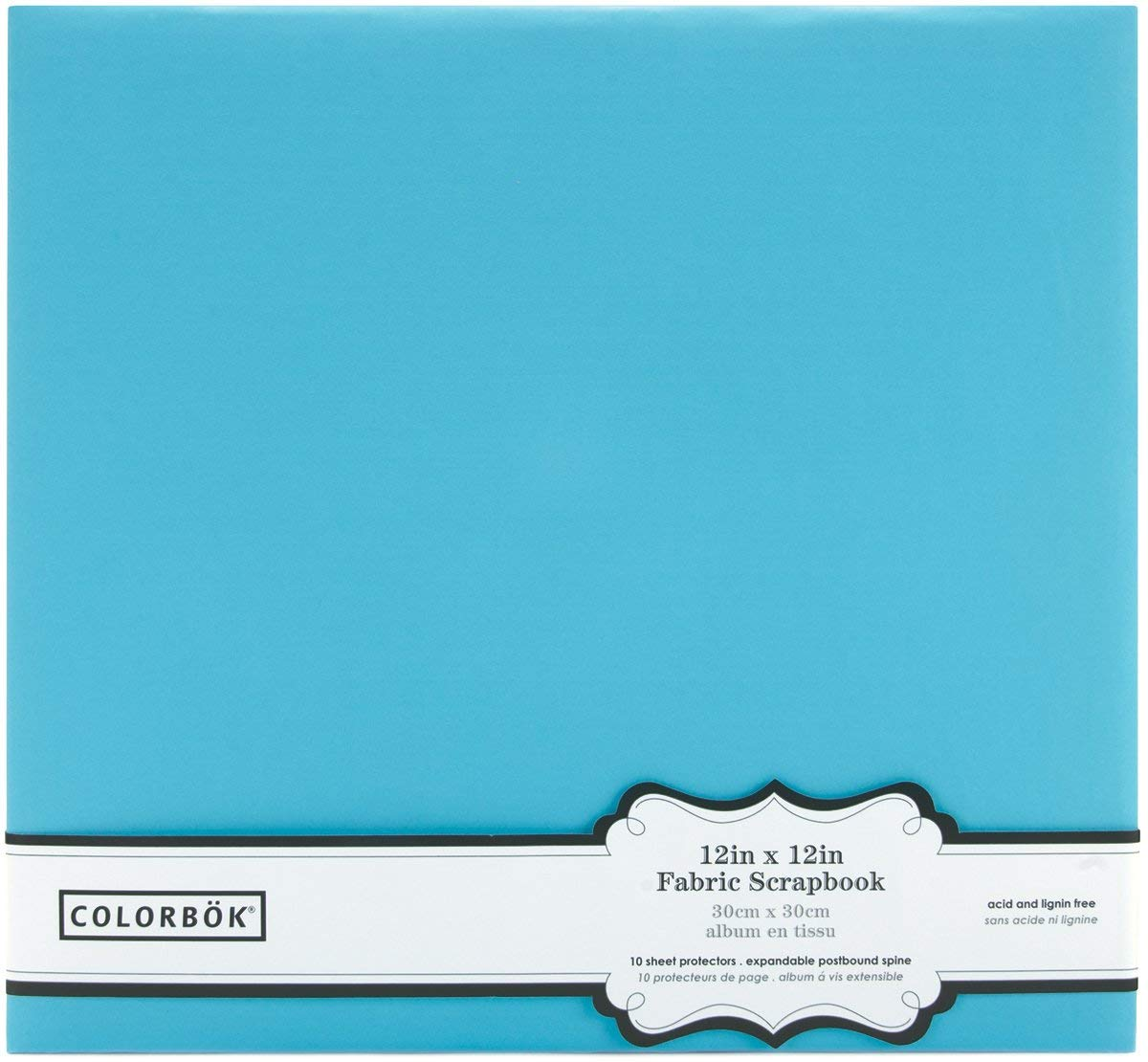 Colorbok Fabric Post Bound Photo Album, 12 by 12-Inch, Light Teal