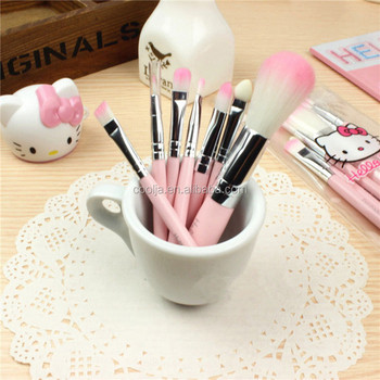 Brand New Hello Kitty 7 Pcs Mini Makeup brush Set Pink Cosmetics Kit maquiagem Make up Tool Hair Foundation Brushes Kit