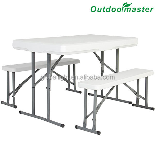 Garden Steel Folding Plastic Portable Picnic Table with Bench