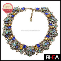 Gold Plated Indian Style Full Colorful Crystal Big Alloy Choker Necklace