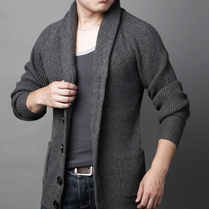 Man fashion cardigan turn down collar knit sweater for man knitwear