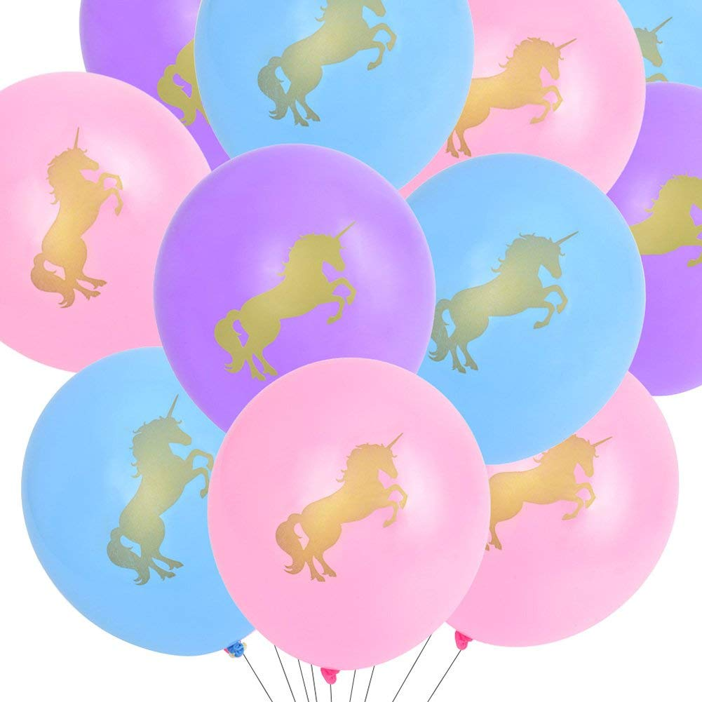 Unicorn Balloons Decorations Pink Purple Blue With Gold Unicorns For Birthday Party Baby Shower Supplies