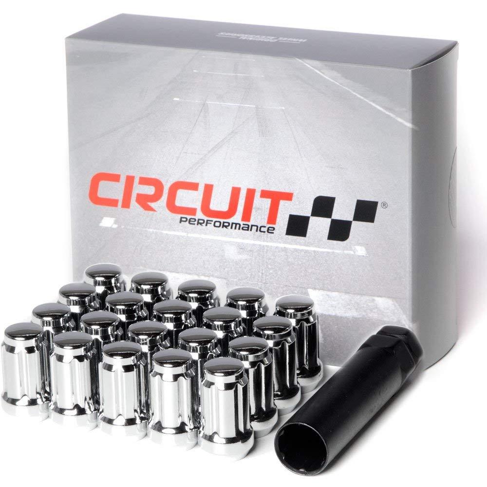 "Circuit Performance Spline Drive Tuner Acorn Lug Nuts Chrome 1/2x20 1/2"" Forged Steel (20pc + Tool)"