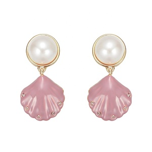 Minimalist fashion costume jewelry pearl earrings china